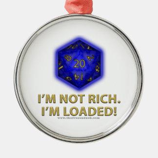 No soy rico.  ¡Me cargan!  (Azul) Adorno Redondo Plateado
