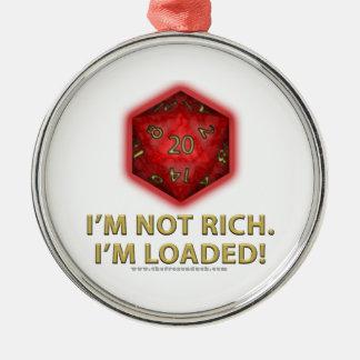 No soy rico.  ¡Me cargan! Adorno Redondo Plateado