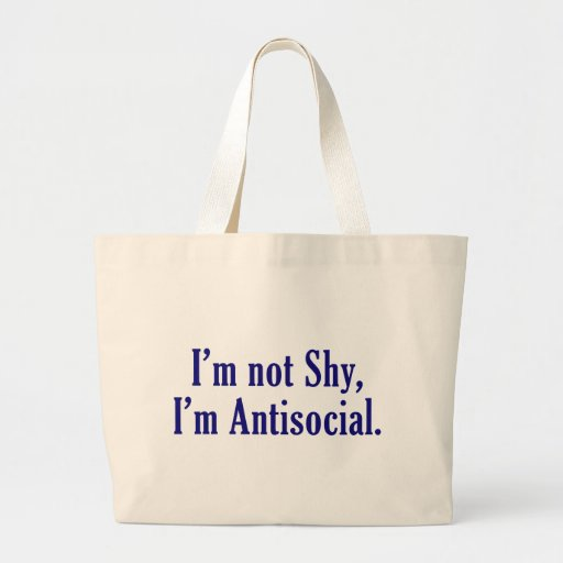 No soy tímido - soy antisocial bolsa tela grande