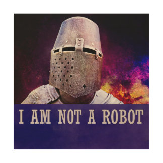 No soy un robot cuadro de madera