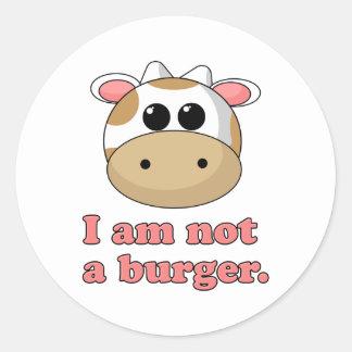 No soy una hamburguesa pegatina redonda