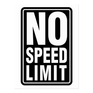 No Speed Limit Postcard