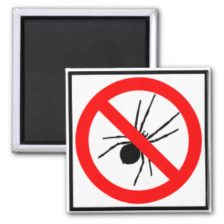 No Spiders Highway Sign 2 Inch Square Magnet