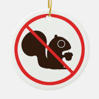 No Squirrels Double-Sided Ceramic Round Christmas Ornament