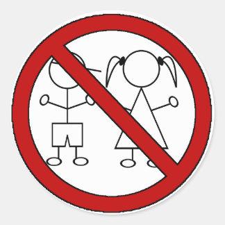 No Stick Figure Kids Classic Round Sticker