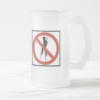 No Stilt-Walking Highway Sign Frosted Glass Beer Mug