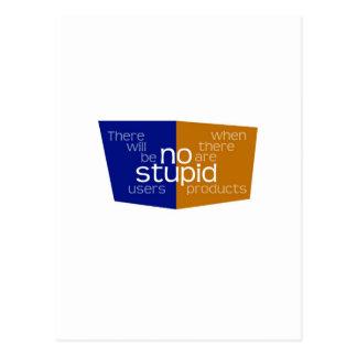 No Stupid Users blue gold Postcard