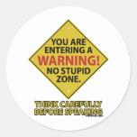 No Stupid Zone Classic Round Sticker