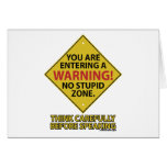 No Stupid Zone Greeting Cards