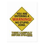 No Stupid Zone Postcard