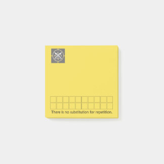 No substitution for repetition - yellow post-it notes