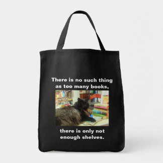 """No such thing as too many books"" Cat (Dark) Tote Bag"