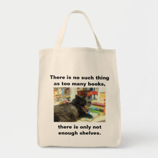 """No such thing as too many books"" Cat (Light) Tote Bag"