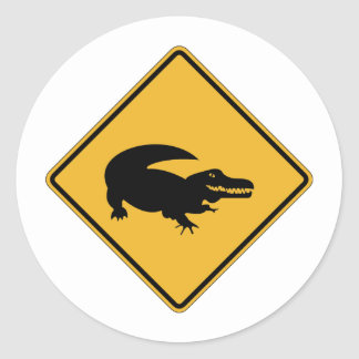 No Swimming - Alligators (1), Sign, Louisiana, US Classic Round Sticker