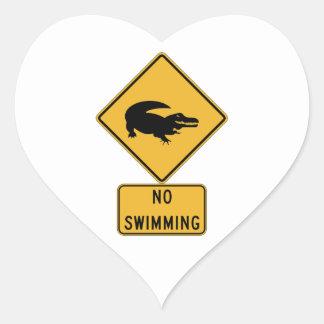 No Swimming - Alligators (2), Sign, Louisiana, US Heart Sticker