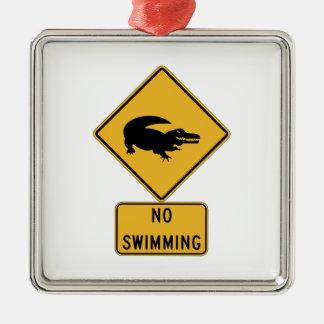 No Swimming - Alligators (2), Sign, Louisiana, US Metal Ornament