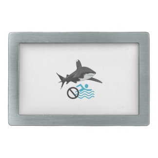 NO SWIMMING RECTANGULAR BELT BUCKLE