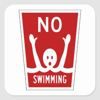 No Swimming, Sign, Florida, US Square Sticker