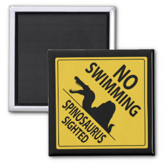 No Swimming – Spinosaurus Sighted 2 Inch Square Magnet