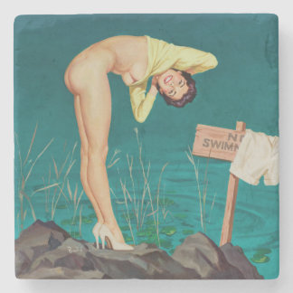 No swimming vintage pinup girl stone coaster