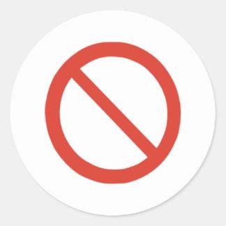 No Symbol Round Sticker