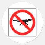 No T-Rexes Highway Sign Dinosaur Round Stickers