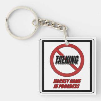 No Talking Hockey Game In Progress Key Chain Double-Sided Square Acrylic Keychain