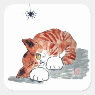 No tan araña de Itsy Bitsy y gatito del tigre Pegatina Cuadrada
