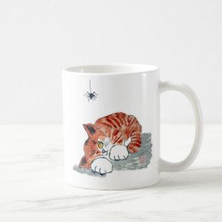 No tan araña de Itsy Bitsy y gatito del tigre Taza De Café