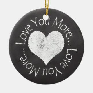 No, te amo más adorno navideño redondo de cerámica