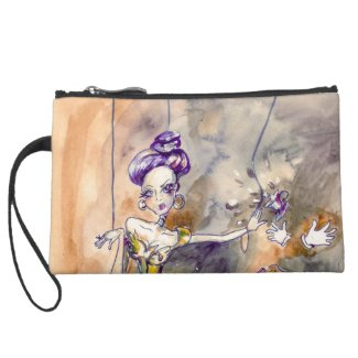 No tea today suede wristlet wallet