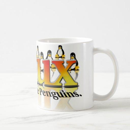 No tema los pingüinos taza de café