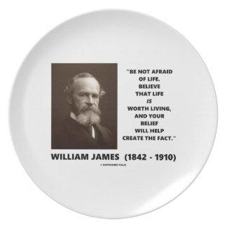 No tenga miedo de la cita de William James de la Platos Para Fiestas