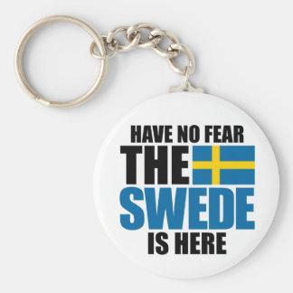 No tenga ningún miedo, el sueco está aquí llavero redondo tipo pin