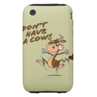 no tenga un dibujo animado chistoso de la vaca de tough iPhone 3 cárcasas