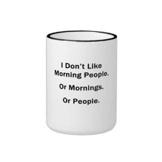 No tengo gusto de gente de la mañana taza de dos colores