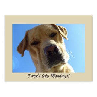 No tengo gusto de lunes - retrato amarillo de tarjetas postales