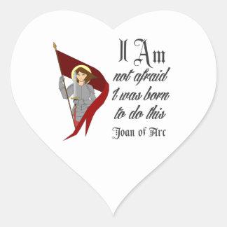 No tengo miedo - Juana de Arco Pegatina En Forma De Corazón