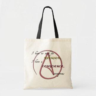 No tengo ninguna necesidad de la religión con símb bolsa de mano