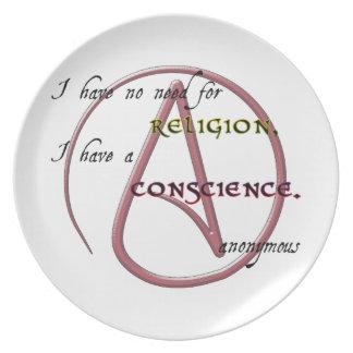 No tengo ninguna necesidad de la religión con símb plato para fiesta
