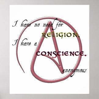 No tengo ninguna necesidad de la religión con símb póster