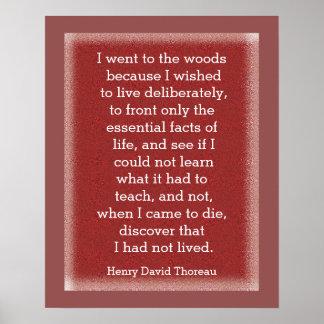 No tenía - cita de Thoreau - impresión viva del Póster