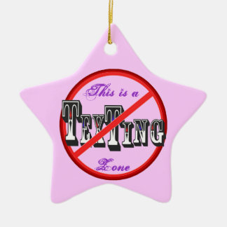 No Texting Star Double-Sided Star Ceramic Christmas Ornament