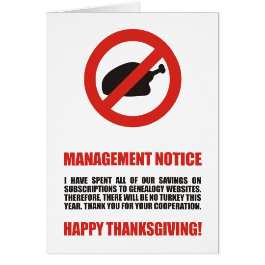 No Thanksgiving Turkey Card