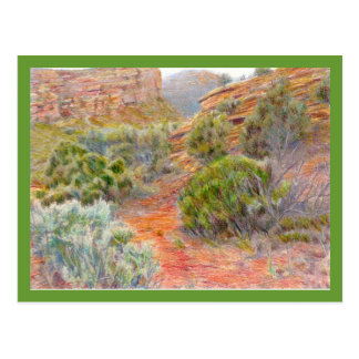 No Thoroughfare Canyon Colored Pencil Drawing Postcard