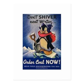 No tiembla el vintage siguiente WW2 del invierno Tarjeta Postal