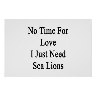No Time For Love I Just Need Sea Lions Poster