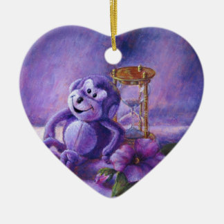 No Time To Monkey Around Purple Hourglass Ceramic Ornament