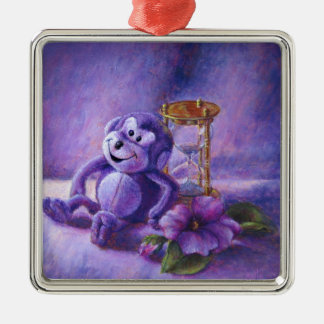 No Time To Monkey Around Purple Hourglass Metal Ornament