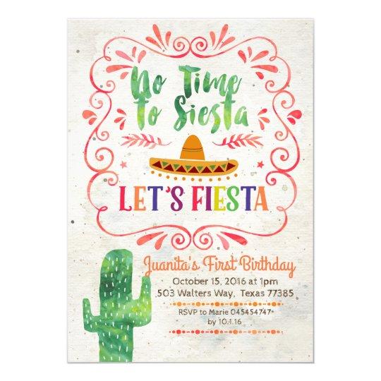 No Time to Siesta Lets Fiesta Invitation Zazzlecom